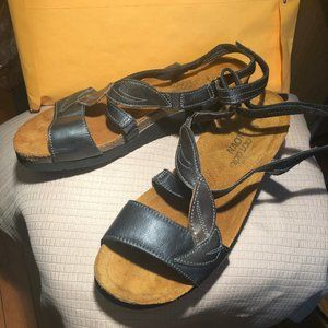 Naot blue and gray women sandals, leather, size 9